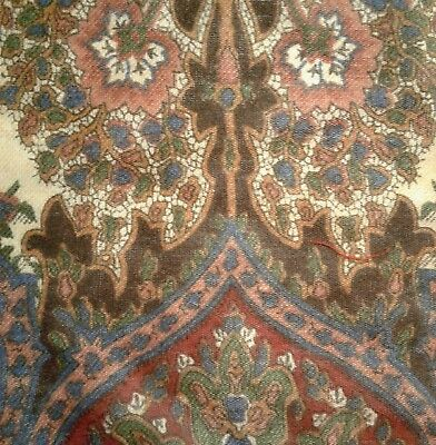 "Antique 19thC Paisley Cotton Fabric 14x26"" Hand Blocked? Brown Blue Red Green"