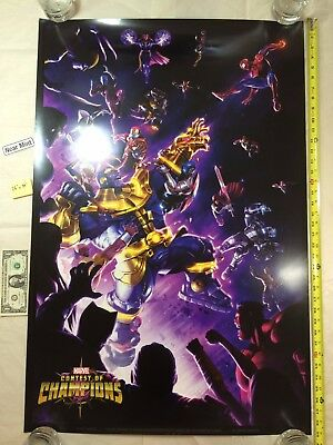 Marvel Contest of Champions 26 x 39 Poster Thanos 2017 NYCC Spider-Man NM