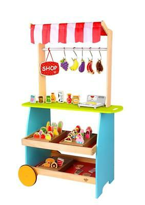 NEW Tooky Toys Wooden Shopping Kiosk Play Set - Kitchen - Wooden Food