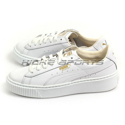 e2ab40601d Puma Basket Platform Core White-Gold Leather Classic Lifestyle Shoes 364040  04