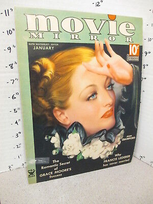 MOVIE MIRROR 1930s magazine store display sign poster JOAN CRAWFORD pinup girl