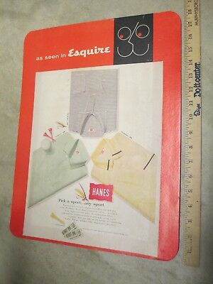 Hanes sport shirt Esky Esquire mag 1950s vintage clothing store display sign