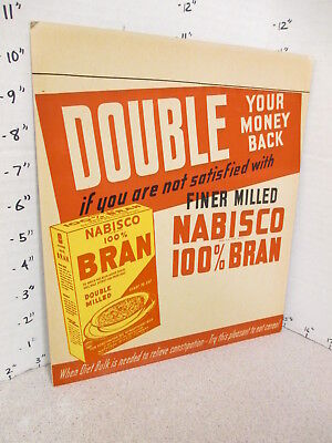 NABISCO 1940s grocery store display sign 100% BRAN cereal box constipation cure