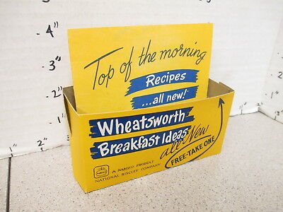 NABISCO 1940s grocery store display sign WHEATSWORTH cereal box RECIPE BOX yello