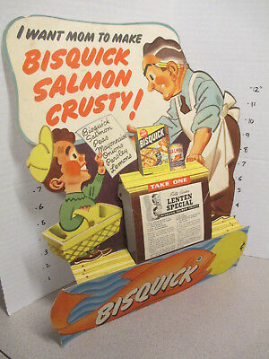 BISQUICK Betty Crocker 1940s grocery store counter display sign SALMON KID