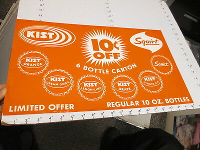 KIST soda 1960s store display sign US paper poster grape SQUIRT bottle cap #2