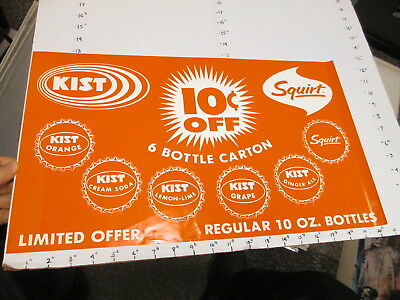 KIST soda 1960s store display sign US paper poster grape SQUIRT bottle cap #4