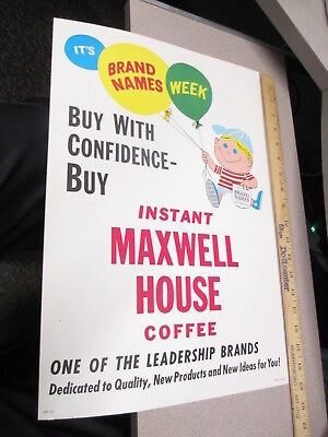 MAXWELL HOUSE INSTANT COFFEE 1960s ad store display sign cartoon kid balloons