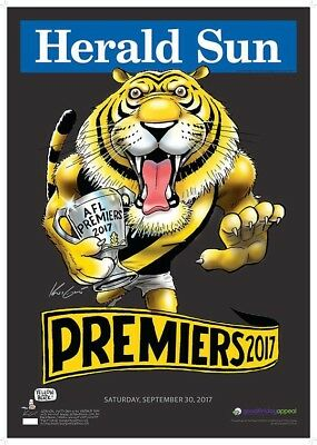 2 x 2017 AFL PREMIERS RICHMOND TIGERS LIMITED EDITION BLACK WHITE KNIGHT POSTERS