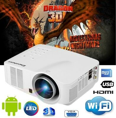 WIFI Android LED 1080P HD 3D Casa Projector Home Theater Cinema AV/HDMI/USB/SD