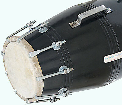 Black Dholak (Dholki),Wood, Bolt-tuned, with Tuning Spanner MI 053