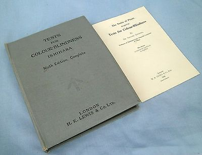 VINTAGE EX ARMY ISIHARA  TESTS FOR COLOUR BLINDNESS 9th EDITION H K LEWIS 1949.