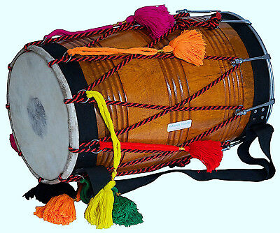 Beautifully Styled Natural Wooden Color High Grade Top Quality Dhol MI 056