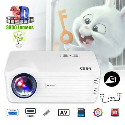 uHAPPY 3D LED Proyector 5000Lumen Home Projector para Smartphone Tablet PC DVD