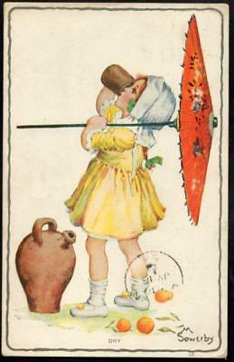 Vintage Postcard 1912 - 'Dry' - Girl With Japanese Parasol Drinking - M. Sowerby