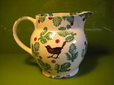 "Rare Early 1980s EMMA BRIDGEWATER Spongeware 1.5pint Jug ""Birds and Holly"" VGC"