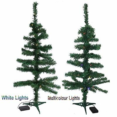Traditional Green 3Ft 90cm & 30 LED Lights Christmas Xmas Indoor Outdoor Tree