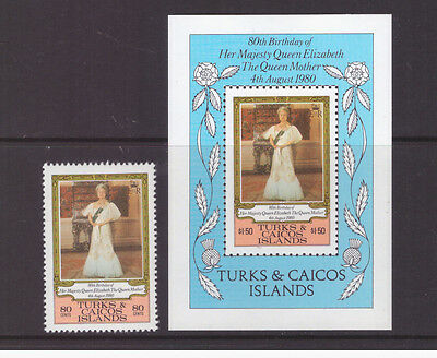 Turks & Caicos Islands MNH 1980 Royalty  Queen Mother set  sheet mint  stamps