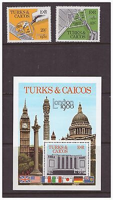 Turks & Caicos Islands 1980 Stamp Exhibition London set  sheet  MNH mint  stamps