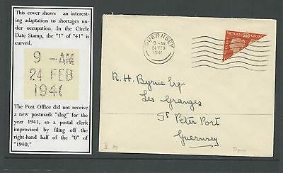 Guernsey SG482a - 2d Bisect on cover - 1941  with RARE cancel - *reduced price*