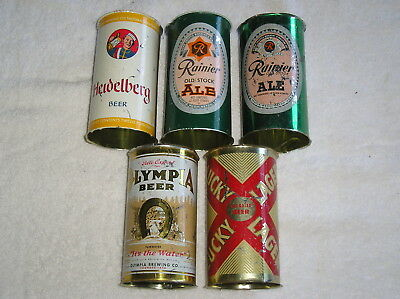 5 Flat Top Beer Cans Heidelberg Olympia Ranier Ale Lucky Lager Wind Tunnel Find