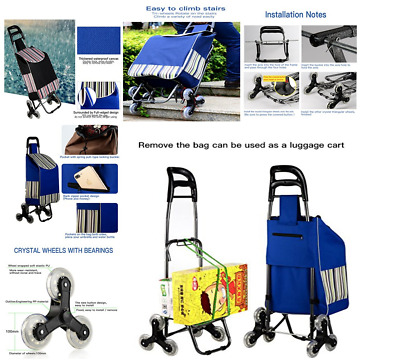 Grocery Stair Climber Climbing Cart Bag Wheel Basket Utility Dolly Trolley Blue