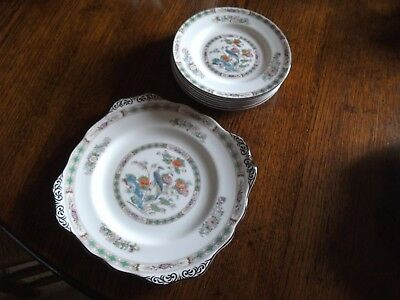 VINTAGE Wedgwood Kutani Crane 6 SIDE PLATES AND A BREAD AND BUTTER PLATE