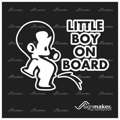 LITTLE BOY ON BOARD Peeing Child Inside Sign Window Bumper Vinyl Decal Sticker