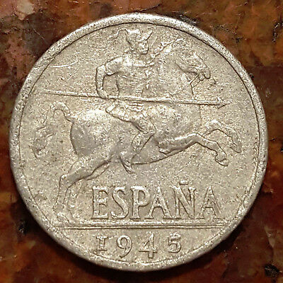 1945 Spain 10 Cent Coin - Ww2 Era - #1284