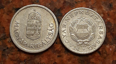Lot Of (2) Hungary Coins - #989