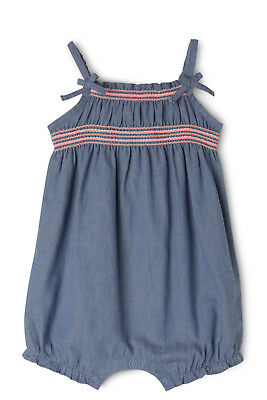 NEW Sprout Chambray Shirred Romper Denim