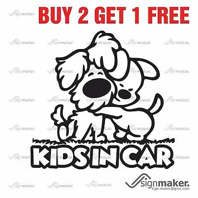 KIDS IN CAR Child On Board Warning Sign Window Bumper Vinyl Decal Sticker