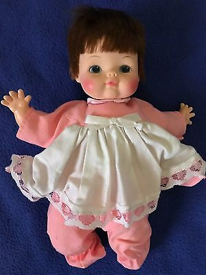 vtg HORSMAN DOLL girl baby with ROSY CHEEKS pink sleeper OUTFIT hair stuffed