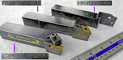 TRIO of 25mm Sq Shank Carbide Insert Tipped Lathe Tool Holders with Inserts VGC