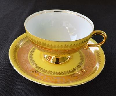 Vintage 1928 RWK Bavaria Germany Yellow Gold Encrusted Pattern Set Cup & Saucer