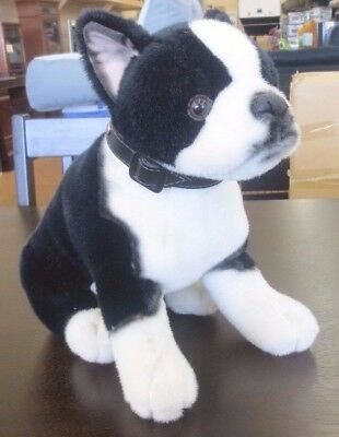 FAO Schwarz Seated Boston Terrier Plush Stuffed Animal with Collar