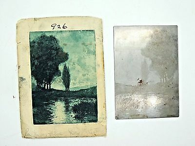 Rare Antique Berdanier Forest Etching Engraved Print Plate