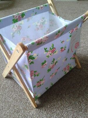 folding knitting sewing craft bag with tags vintage style floral wood frame
