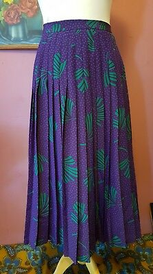 Vintage womens 80s green and purple leaf and dot pleat skirt