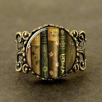 STUNNING Vintage LIBRARY Book Art RING FOR BOOK LOVERS