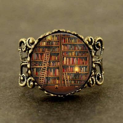 AWESOME Library Book Case Ring Vintage Style Students Teachers Librarians