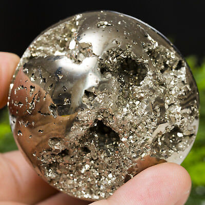 Wow !! Golden Pyrite 60 Mm Geode Crystal Sphere !