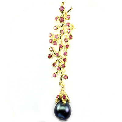 Luxury Round Cut 2.5mm Top Rich Red Pink Ruby Pearl 925 Sterling Silver Brooch