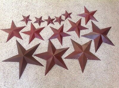 "Lot of 14 Large to Small Barn Stars Rustic Look 4 / 18"", 5 / 12"" & 5 / 6"" Stars"