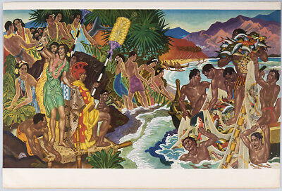 Vintage Hawaiian Mural Cruise Ship Menu Unused Matson Art Deco Eugene Savage NR