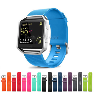for FitBit BLAZE Replacement Soft Silicone Metal Buckle Sports Strap Band Large