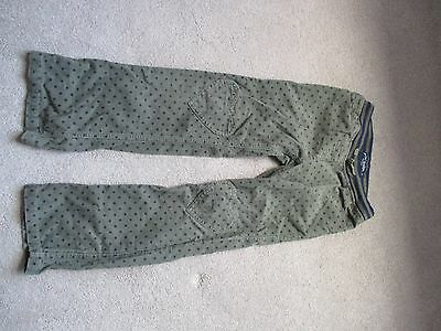 Girls Mini Boden spotty cord jeans with heart patches. 9 yrs Green & navy.