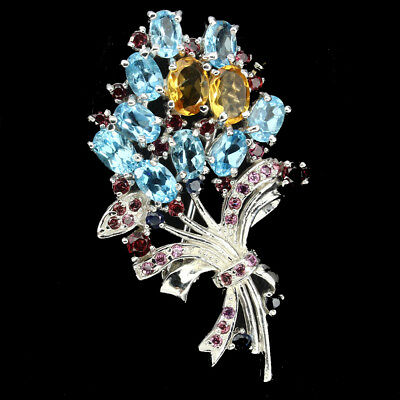 Gracefully Swiss Blue Topaz Citrine Garnet Sapphire 925 Sterling Silver Brooch