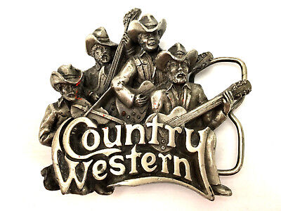 COUNTRY AND WESTERN MUSIC Belt Buckle Bergamot Brass Works 1981 USA Honky Tonk