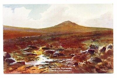 Vintage postcard Saddle Tor, Dartmoor (from Bactor Common), Devon